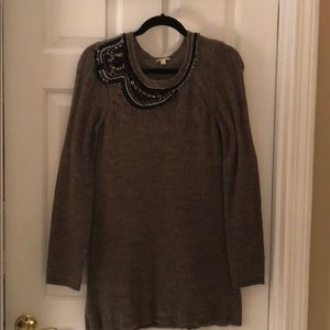 Gianni Bini jeweled neck tunic sweater